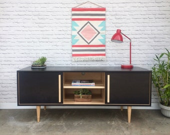 SALE!! - Kasse Credenza / TV Stand - Solid Maple - Ebony/Clear Finish - In Stock!