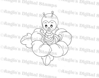 Cute Bug In Flower Digital Stamp Image