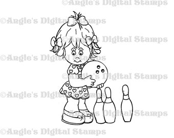 Little Lila Bowling  Digital Stamp Image