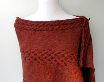 Hand Knit Shawl / Wrap Autumn Leaves