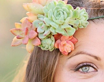 Succulent Crown, bride's crown, wedding crown, floral crown, bride maid crown, hair wreath, customized for you!