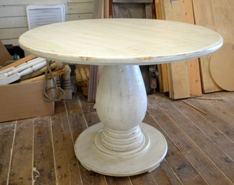 42 inch Round Pedestal Table Huge Tear Drop Pedestal Solid Wood Handcrafted Distressed Ivory