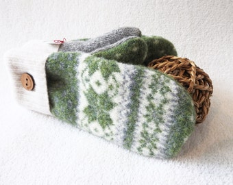Recycled Sweater Mittens GREEN & GREY Nordic Sweater / Fair Isle Sweater Wool Mittens Fleece Lined Gloves Unise Mittens by WormeWoole