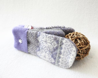 Wool Mittens PURPLE & GRAY Gloves Lavender Fair Isle Felted Sweater Wool Mitts Fleece Lined Eco Gift Under 50 for Women by WormeWoole