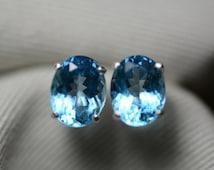 4.40 Carat Swiss Blue Topaz Stud Earrings Sterling Silver 9x7mm Oval