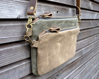waxed canvas day bag/ small messenger bag/ kangaroo bag with waxed leather shoulderstrap