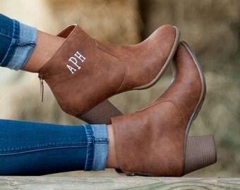 Monogrammed Ashlyn brown boot - fall never looked so good...