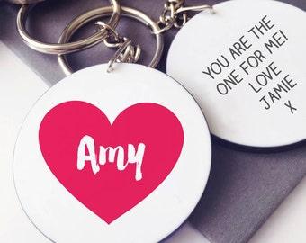 Heart Valentine Message Keyring
