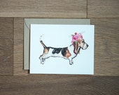 Basset Hound card with flower crown, blank card for writing notes dog card flowers dog lover