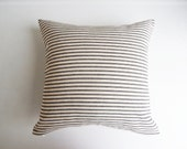 Black Ticking Stripe Pillow Cover - Farmhouse Decorative Throw Cottage Chic - Rustic Minimal Pillow