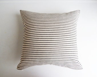 Black Ticking Stripe Pillow Cover - Farmhouse Decorative Throw Cottage Chic - Rustic Minimal Pillow