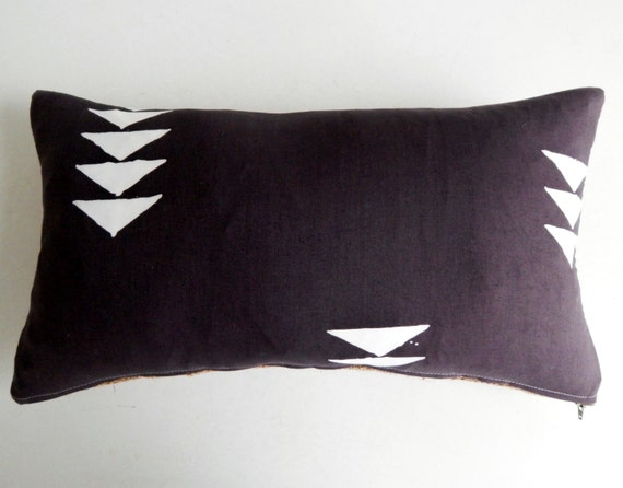 Arrowhead Print Pillow Cover in Charcoal Gray and White