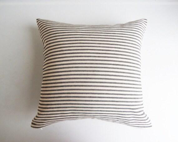 Throw Pillow Covers Farmhouse : Black Ticking Stripe Pillow Cover Farmhouse by habitationBoheme
