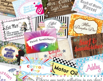 "Candy Buffet Tent Signs 2"" x 3"" Folded Printed & Shipped by Cutie Putti Paperie"