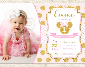 Pink and Gold Minnie Mouse Birthday Party Invitation, First, 1st Birthday, Gold Glitter,  Girl, Printable Invitation