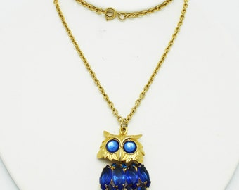 Vintage Owl Necklace Wise and Blue