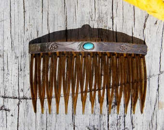 Navajo Silver Turquoise Hair Comb Accessory