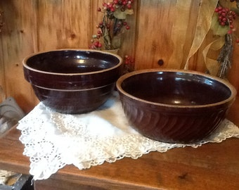 Antique Stoneware Mixing Bowls Primitive 1800's Rustic Country Kitchen Choice