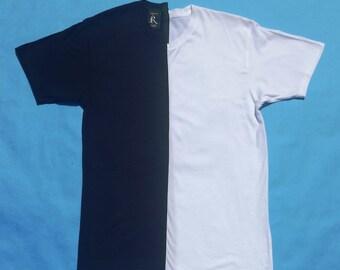 half and half tee black and white tee black tshirt white tshirt white tees black tees split shirt white t-shirt black t-shirt uneven tee