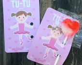 "Ballerina Valentines (2.5""x3.5"") - Set of 10"