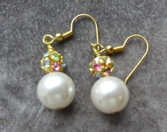 Vintage Faux Pearl Dangle earrings with French Hoops and swarovski crystal elements earrings