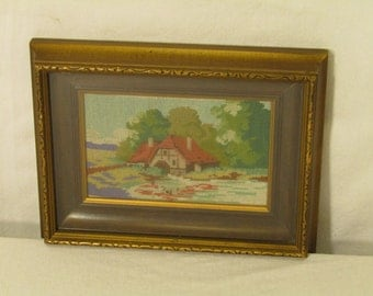 Vintage Gold Wood Frame Glass Shadow Box Picture with Embroidered Cottage Scene