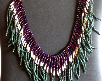 Native American necklace in purple, greens and cream with pearls