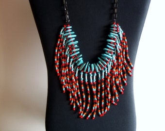 Native American necklace, turquoise, red, orange, dark green