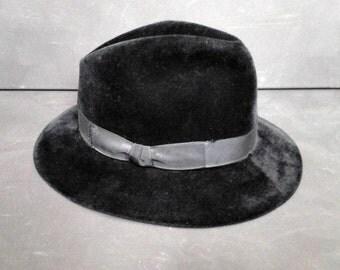 Vintage Black Wool Fur Felt Fedora Trilby Hat Wide Brim France Paris Westworld Boho Size M