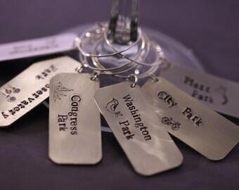 6 Hand Stamped Denver Parks Wine Charms / unique hostess gift / unique wedding present / colorado gift / Denver gift