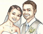 Custom CARTOON portrait (of two) 8x10 Illustration drawing colored pencils markers by Kate Holloman
