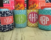 Personalized Coozies with Monogram - Customize Colors- Bachelorette/ Bridesmaid Can Coolies Coolers