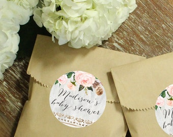 24 Paper Favor Bags - Roses Label | Wedding Favor Bags | Bridal Shower Favor Bags | Kraft Favor Bags | Baby Shower Favor Bags