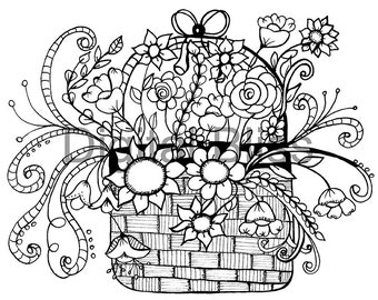 Adult Coloring Pages, Whimsical Basket of Flowers Design, Adult Coloring Page, INSTANT DOWNLOAD,  Kids Colouring Page, Kids Craft Activity