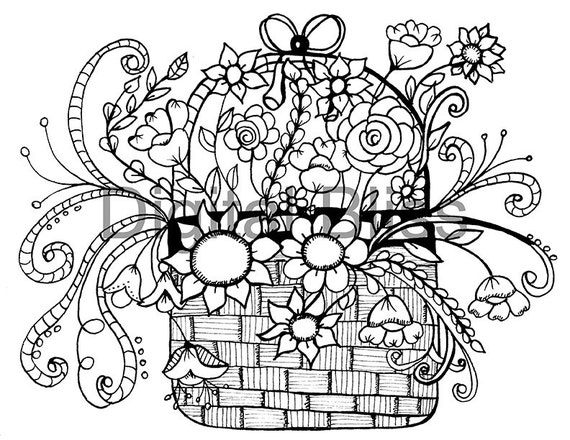 Adult Coloring Pages Whimsical Basket of Flowers Design Adult