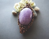 Amethyst Necklace  - Natural Organic Amethyste Wire Wrapped Rustic Necklace