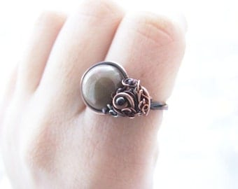 Petrified Wood Ring, Wire Wrapped Copper Adjustable Earthy Ring, Boho Ring, Petrified Wood Jewelry