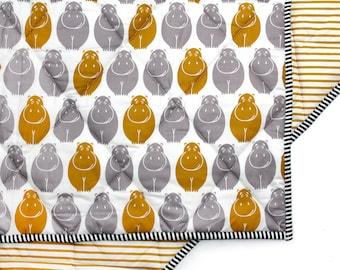 HAPPY HIPPOS- safari baby blanket - jungle baby bedding- modern nursery bedding- mustard gray baby comforter- tummy time mat
