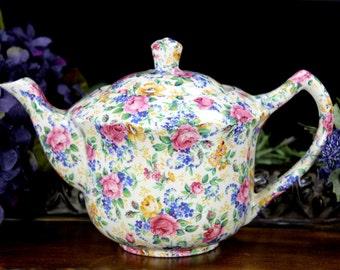 Chintz Tea Pot,  Antique Teapot, James Kent LTD Rosalynde, Made in England 12909