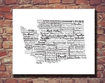 Washington Print, Washington Map, WA, Seattle, State Art, Wedding Gift, Personalized, Print, Custom, Cities, Housewarming Gift, Travel Map