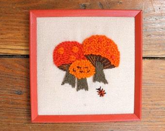 Mushroom Love... Vintage Mushroom Embroidery or Crewel Work