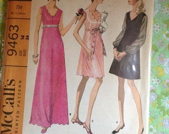 Vintage McCall's 9463 Scalloped Dress Sewing Pattern 36 Inch Bust