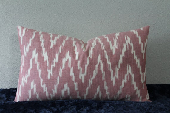 """SET Of TWO - Chevron Ikat in Soft Rose - 12"""" x 20"""" - Lumbar Pillow Covers"""
