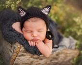 Halloween Black Cat Bonnet Hat (Newborn, Baby, & Toddler size options)