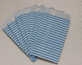 "CLEARANCE Chevron Bags Small Blue 50 Bags 3 1/4"" x 5 1/4"" Favors / Showers / Merchandise / Birthdays"