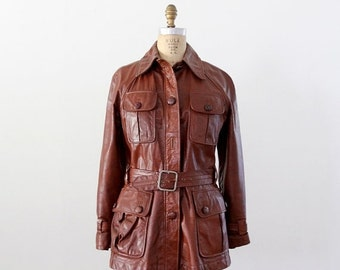 SALE 1970s motorcycle jacket,  belted leather coat