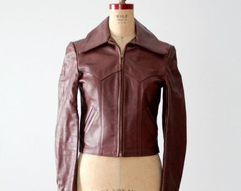 SALE vintage Walter Dyer leather jacket, 70s brown leather jacket