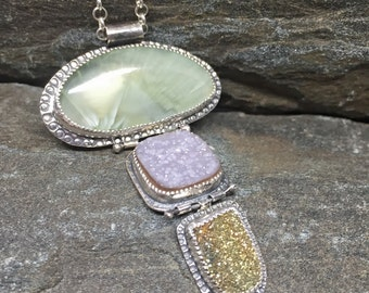 Hinged Druzy and Prehnite Necklace, On chain, Sterling Silver, Handcrafted, Natural Gemstones, Modern Pendant, Handmade in NH, Sparkling gem