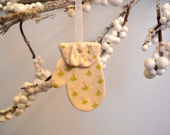 Ceramic Mitten Ornament, White with Pink Green Flower Motif, Ruffled Polka Dot Trim
