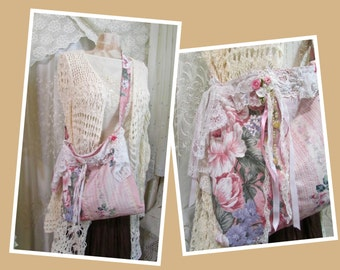Shabby Rose Shoulder Bag, pink cabbage rose cotton fabric purse, shabby cottage chic, romantic soft ruffle laces